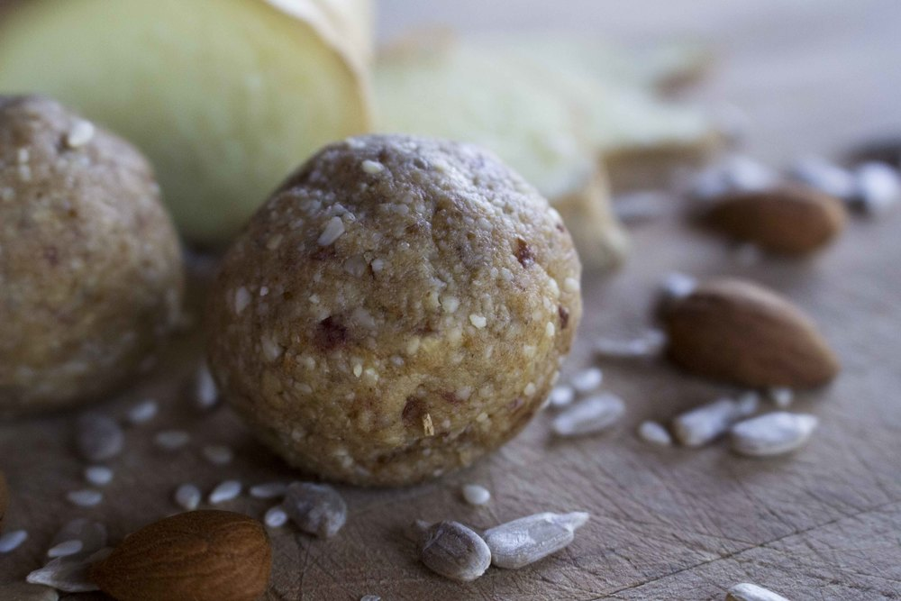 Ginger Bliss Balls recipe made with NuZest Vanilla Protein powder by Erin O'Hara