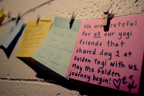 A love note on our gratitude wall on our first day of opening!