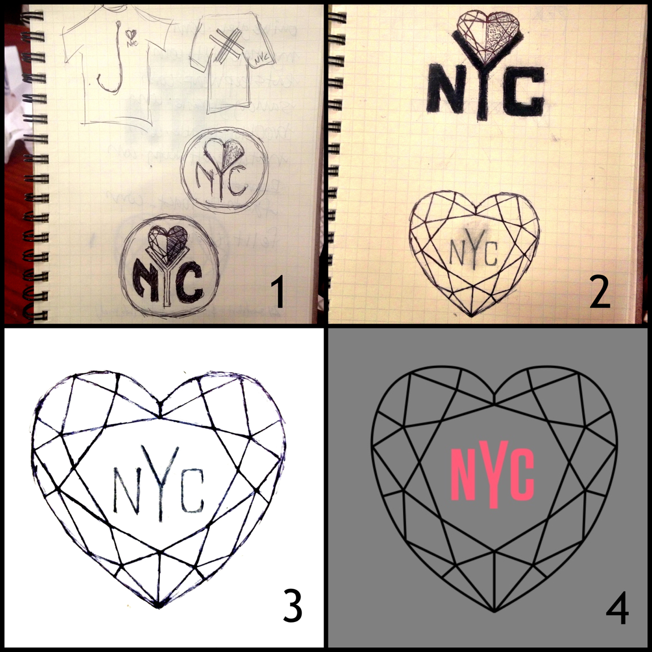 "We wanted to let y'all in on the creative process behind our latest 'loveNYC' graphic and how it came to be! At stage ONE, we (Thurman & Torrence), along w/ our homie & partner John Paul, kinda shot in the dark with a few ideas. We used the N.Y. Knicks' current logo as a reference and we did what we could to work the ""LOVE"" in there some kinda way. Stage TWO is where the diamond-heart idea was birthed. Hearts are pretty common & easily associated with ""love"", so we wanted to keep that easy association while choosing to deter to something less conventional than a regular, average heart. We also preferred the ""diamond-heart"" because it is more symbolic in that it embodies strength, beauty, toughness, & love all into one symbol. The top design in stage TWO was our favorite, especially Torrence's, until JP had the idea of putting the ""NYC"" on the inside of the diamond-heart. That turned out to be a great idea! Thurman free-handed that idea at the bottom of stage TWO and a more defined version of it can be seen in stage THREE. By stage THREE, we had a nice design that was equally clean and meaningful. What usually happens in our creative process, whether pertaining to design or music, we like to seek the opinions of some of our friends and loved ones to see what they think. Once we got the feedback we desired for this design, we then knew it was time to turn to the amazing Gabi Ferrara! One of the many reasons we love working with her is that she always does an awesome job with mixing her own creative taste with ours. On this design, we decided to use the Tungsten font for ""NYC"" because it's a clean, sharp, & simple type. The color scheme for this design is the same as the one previous because we sought to keep some uniformity in the graphics throughout this 'loveNYC' campaign. We sent Gabi what you see in stage THREE and she transformed it into the finished product, what you see in stage FOUR!     We've got some new sweatshirts coming SOON, so if you didn't get one of the last ones, here's your opportunity to get your hands on one & support the cause! We'll let y'all know when they're available for purchase.      http://askthethomasbros.tumblr.com/"