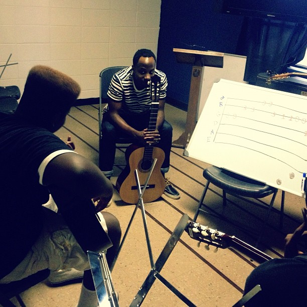 Wednesdays = guitar lessons at the Baton Rouge Dream Center! Today, the homie Derrique (sp?) was one of our star players. Everyone is movie along really fast, which isn't a good thing…it's a GREAT thing. #ATTB #BRDC #guitar  (Taken with  Instagram  at Baton Rouge Dream Center)