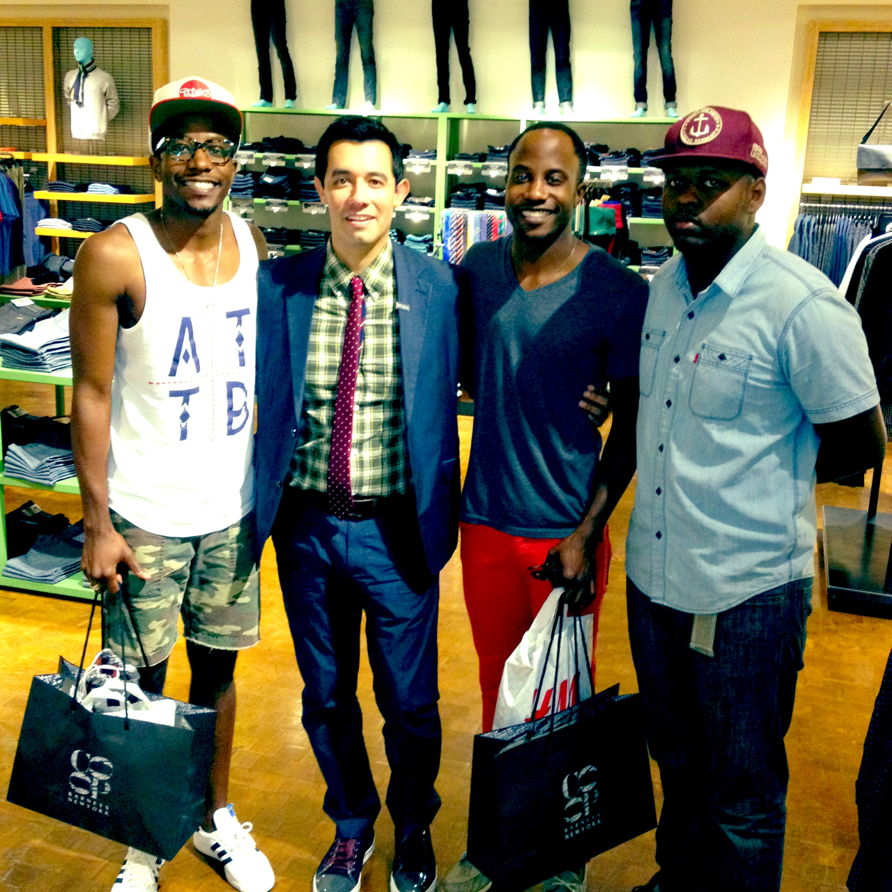 "This guy in center, Chris Liendo, is the most knowledgeable ""Denimologist"" we've EVER come across! This dude seriously is the real deal. If you're ever at Barney's New York in Northpark Mall in Dallas, look for him!"