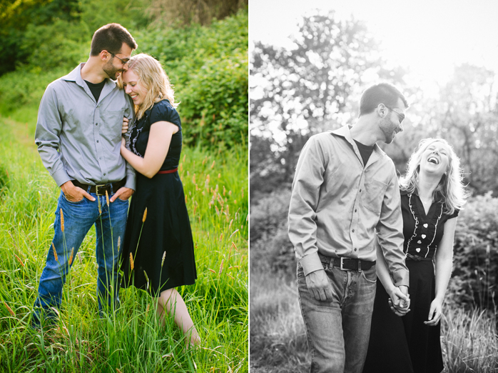 engaged couple in tall grass sauvie isalnd
