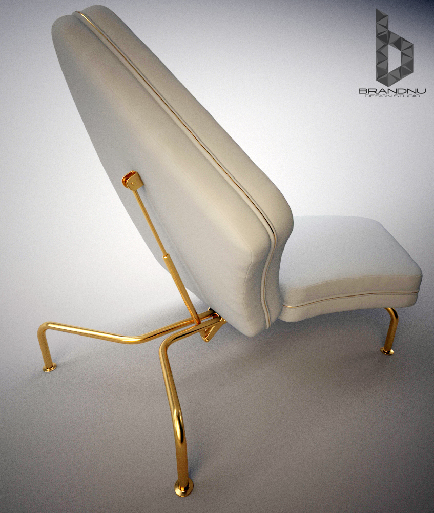 The gold frame of the furniture can be topped with a variety of items creating a number of different furniture pieces, in this case a chair. The furniture can be topped with seat cushions to not only create a couch, but when adjusted the frame creates a chair.