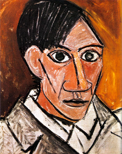 Picasso's Self portrait of 1907, after his introduction of African art.