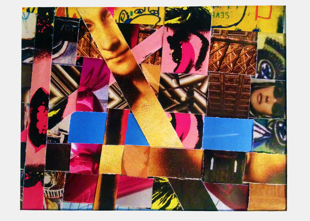"Title - ""Face Forward"" - This piece is a representation of the many faces which make up America and the right way to tackle diversity. The strips of imagery are woven together making the following statement. To overcome social issues amongst diverse individuals, we must seek to not simply coexist in space, but find overlapping similarities which allow our lives to become woven and see the strength and beauty we are able to exhibit as a unit."