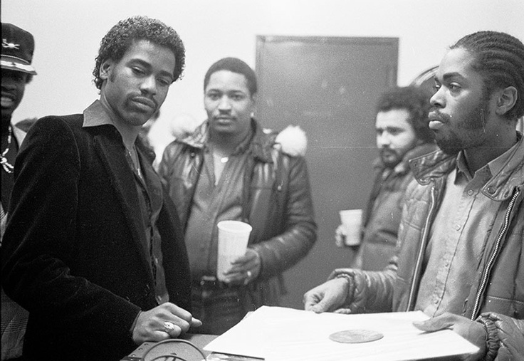 Kurtis Blow, Mr. Magic, Dj Junebug (The Fever) and JDL 1981. Photo By: Joe Conzo