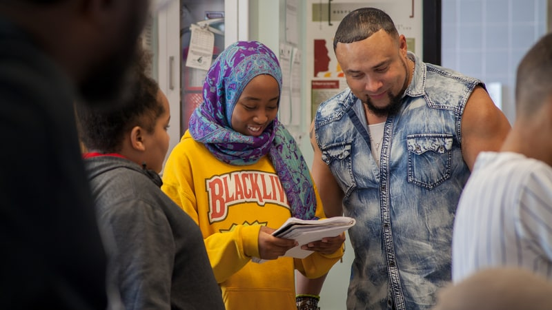 The rapper Chino XL teaching students at Hip-Hop Architecture Camp. Photo by M.O.D. Media Productions.