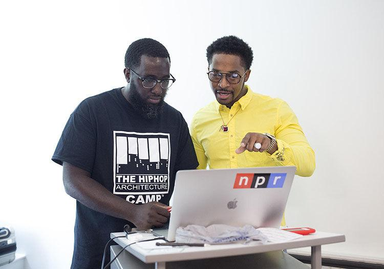 The Hip Hop Architect  and Chingy discuss architecture at The St Louis Hip Hop Architecture Camp. Photos by Carolina Hidalgo/St. Louis Public Radio
