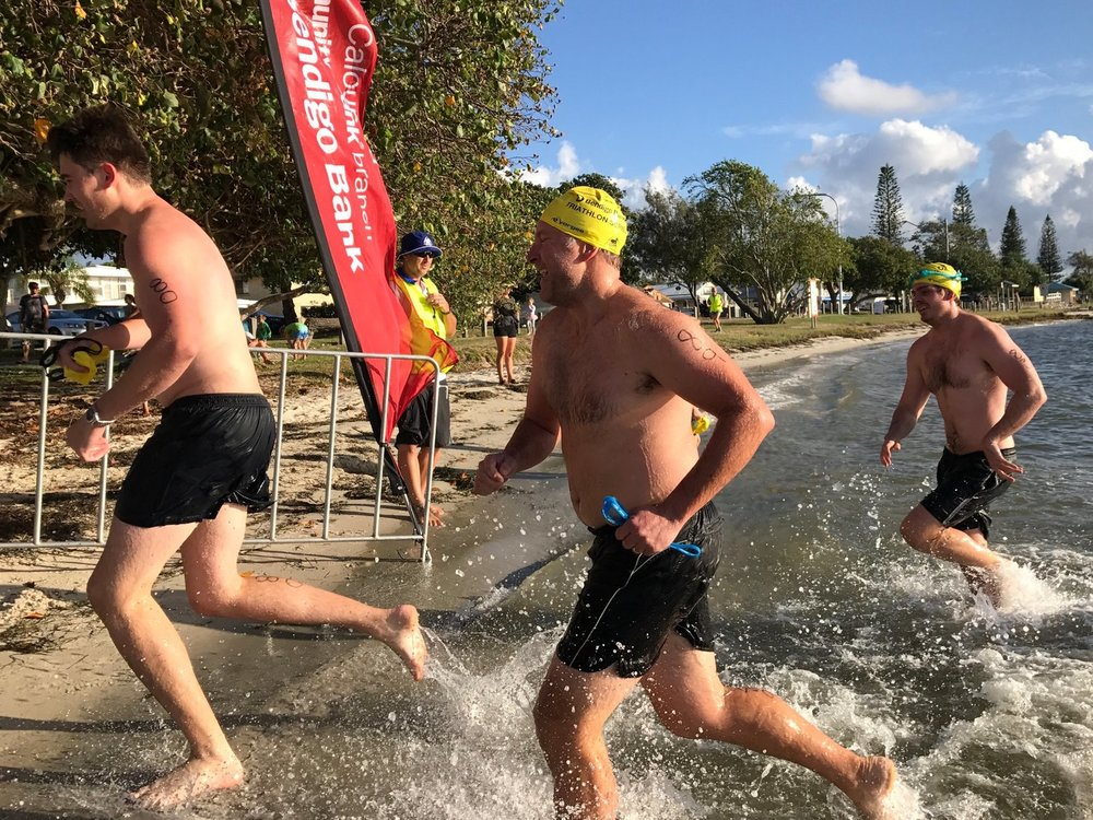 Matt Austin, Troy Kernaghan and Matt Dahl exiting swim leg of their first triathlon.jpg