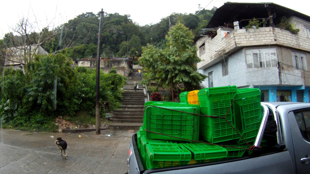 Empty bins.  Stuck in La Merced under corrugated rooftops waiting for the tropical storms to pass.