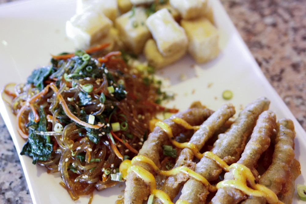 Crispy Green Beans, Jap Chae (Korean glass noodles), Deep Fried Tofu
