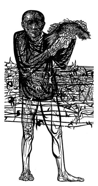 "Man of Peace, Woodcut, 1952, 60""x31"""