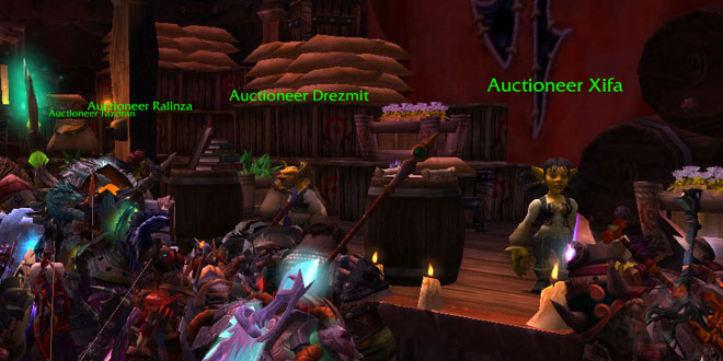 "The Orgrimmar Auction House in World of Warcraft, which might as well be the world trade center, as each server has a kind of ""Global Economy."" I borrowed this photo from  RPG Tutor's ""WOW Gold Guide"""