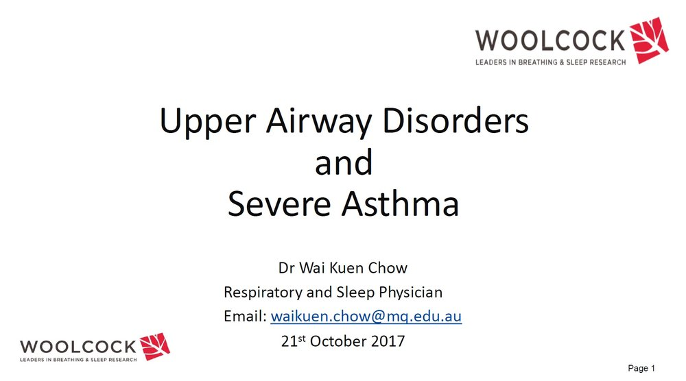 Dr Wai Kuen Chow - Upper airway in severe asthma