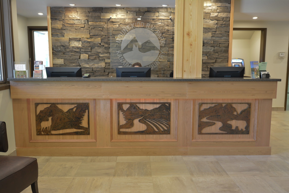 Design and metal cutouts of the mountain by Kurt Westergard /owner Harmony Home Projects Inc.