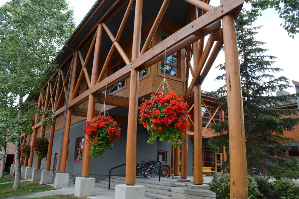 Banff Town Hall - example of natural materials, and neutral tones combined with bright colours