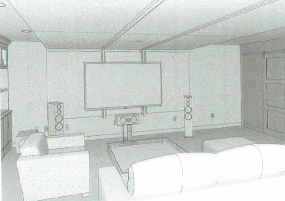 3D view of a future home theatre layout by  sound engineering studio: WSDG Group