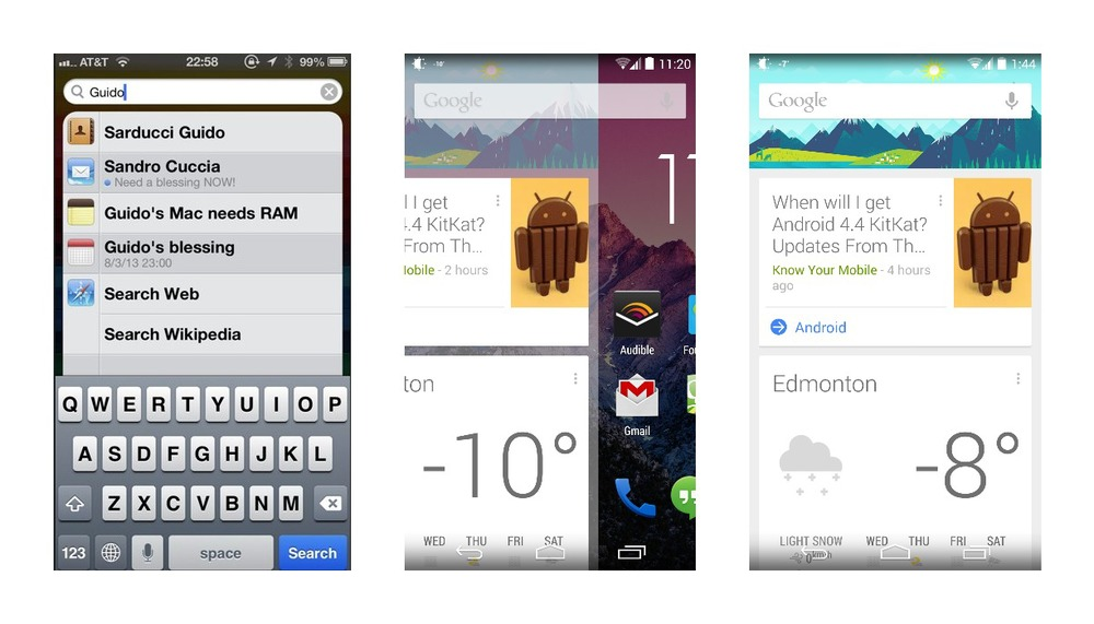 Spotlight on iOS 6 used to reside on the left home screen (left). With GEL, Google Now and search are located to the very left as well (centre and right).
