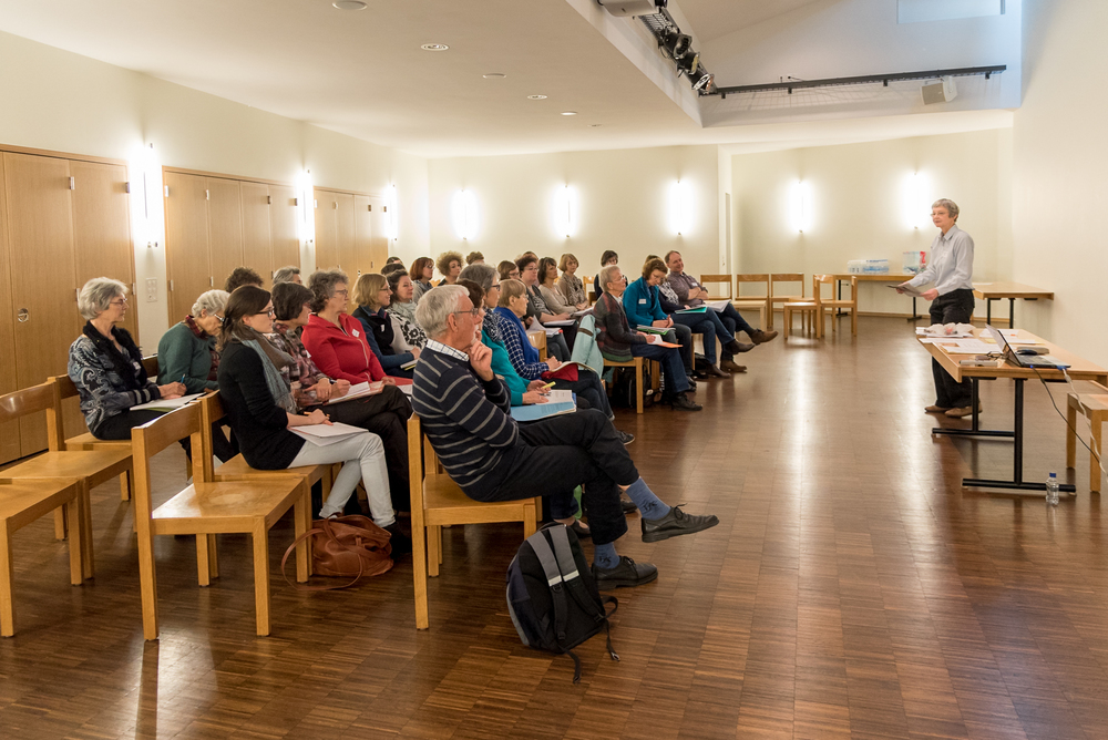 Kathrin Pope, of Wycliffe Switzerland, leads a shorter version of the German for Refugees course at the Gellertkirche, in Basel, Switzerland. The German for Refugees course is a train-the-trainer course designed to equip Swiss to teach their language to recently arriving refugees.