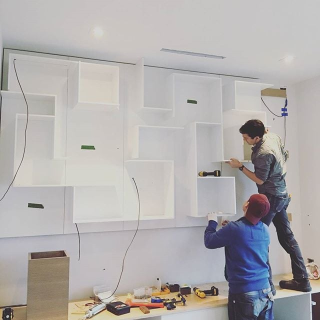 WORK IN PROGRESS : A Unique wall shelving unit taking shape, sometime even we have a first for building something we haven't done before, and we surprise ourselves with the outcome. #custom #wallunit #first #unique #cabinetmaker #studio1kitchens #vancity #vancityhomes #luxury #home #modern #contemporary #design #designer