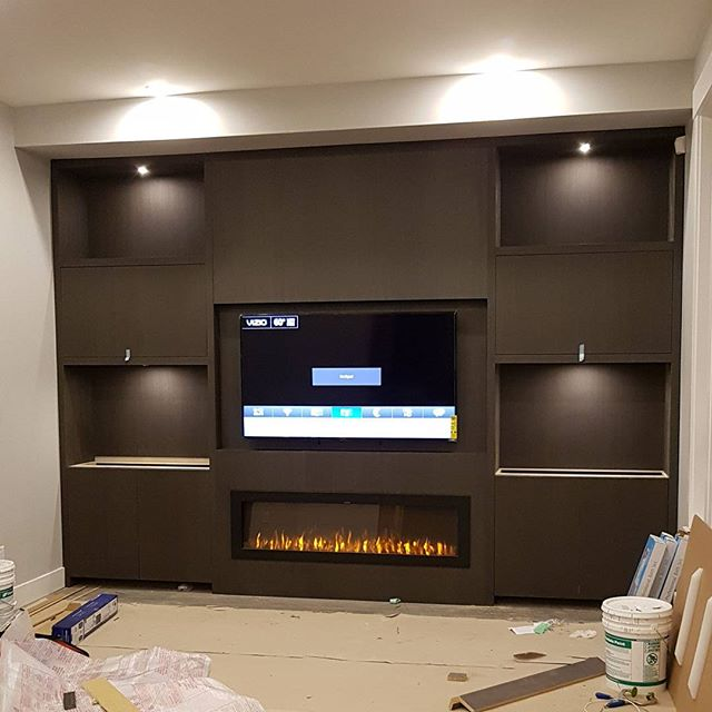 Work in progress: a custom built unit to suit the clients family room needs, simple elements to give it a integrated finish #studio1kitchens #cabinetry #custom #home #vancity #surrey #cabinetmaker #veneers #laserlevel #wood #installation