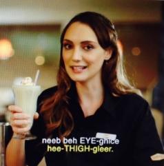 Hannah Levien as an Elvish-speaking waitress
