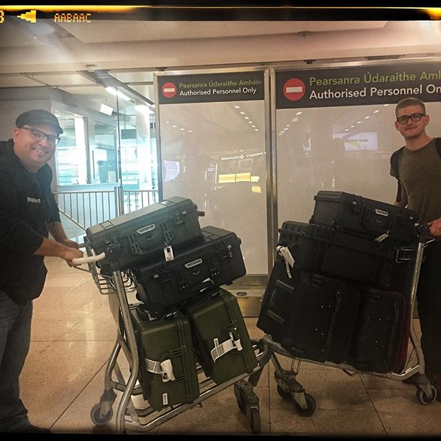 Landing in Dublin Airport with 2 suitcases... and 8 pelicans packed to the rim with cameras, lenses, drones and gimbals for the#fireandgraceinireland project.... oh, and a pretty darn sophisticated mobile recording studio. Cause this was a live recording....... MORE INFO AT fireandgracemusic.com #liveauthentic #liverecording #canon #canonc200 #canonlglass #universalaudio #dpamics #pelicancase #airport