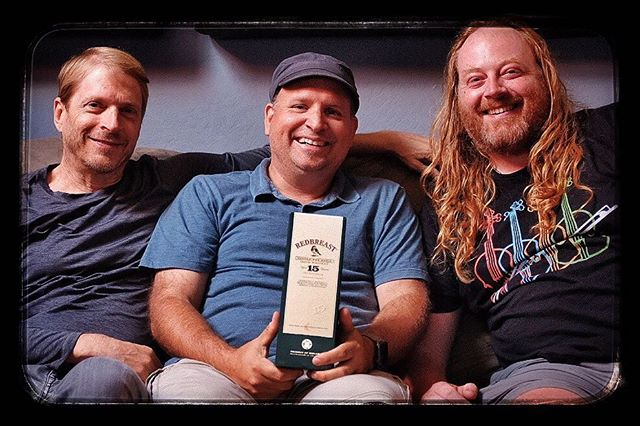 "After weeks of editing and re-editing, today I reunited with @williamcoulterguitar and @Edwin huizinga to show them the rough cut of the ""Fire & Grace in Ireland"" project.  If the looks on our faces are any indication, I'd say things are moving along quite nicely........! (and that's not the whiskey talking!) 👍🏻🔥🍀 #redbreast #santacruzmusic #fireandgrace #fireandgraceinireland #musicvideo #ireland #countykerry #videoediting #singlepotstill"