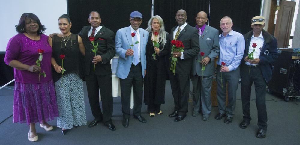 Previous Long Term Survivor's Award recipients pose for photo.