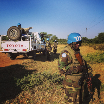 Early morning on the road from Kapoeta to Torit, escorted by Rwandan UN peacekeepers in Eastern Equatoria, South Sudan, November 29, 2013.