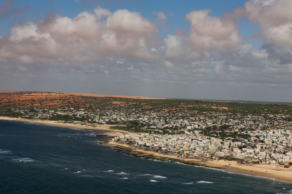 The port city of Merca lies on the coast that stretches between the capital of Mogadishu and Lower Shabelle, one of the areas of the military offensive against al Shabaab in Somalia, April 28, 2014. The Somali National Army lacks any military capacity to patrol the expansive coastline.