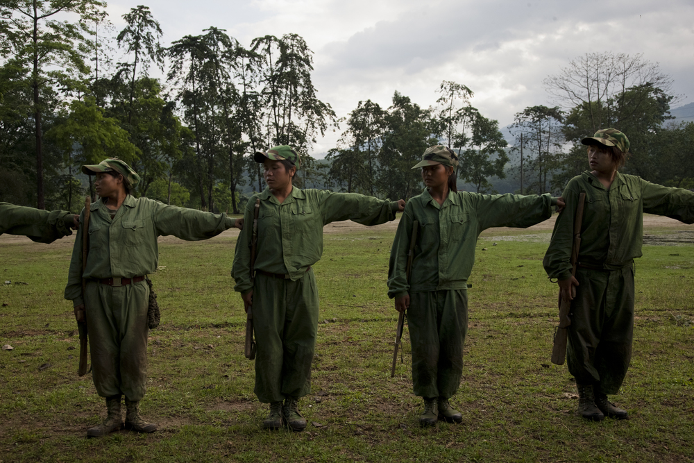 Basic training at the KIA's military base outside of Laiza, Kachin State, Myanmar, May 17, 2013. The KIA is the last major armed rebel group in Myanmar that has not signed a peace agreement with the government.