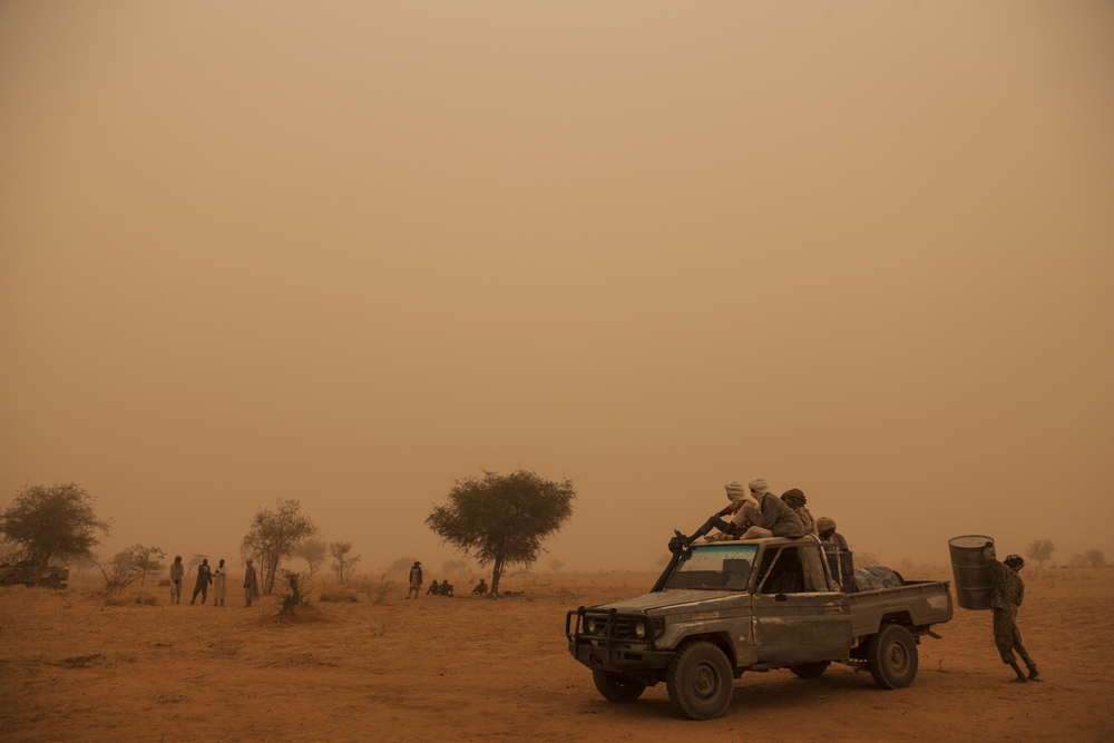 Rebel soldiers from the Sudan Liberation Army - Abdul Wahid (SLA-AW) prepare the truck to go for water in the middle of a sand storm in North Darfur, Sudan, February 24, 2015.