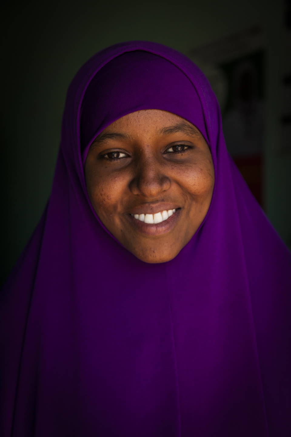 Community Health Worker, Margau Mohamed Samantar, age 22, at the Nugal Maternal and Child Health Center in Garowe, Puntland, November 15, 2014.