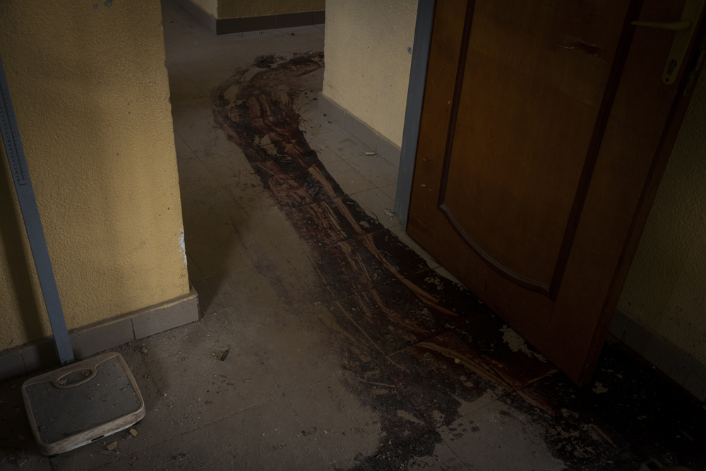 The floors of the Bumerec Hospital where guards reported was attacked by police in Bujumbura, Burundi, May 17, 2015.