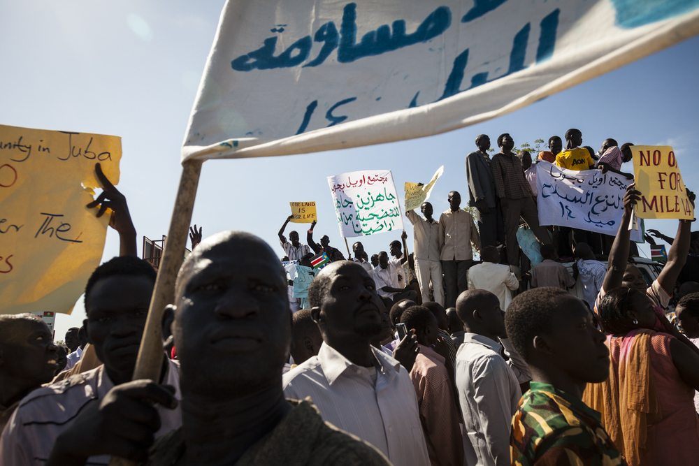 Protesters representing regions along the border with Sudan, including Panthou, Abyei, and Northern Bahr el Ghazel, gather outside of the Parliament building in Juba, South Sudan, October 15, 2012.