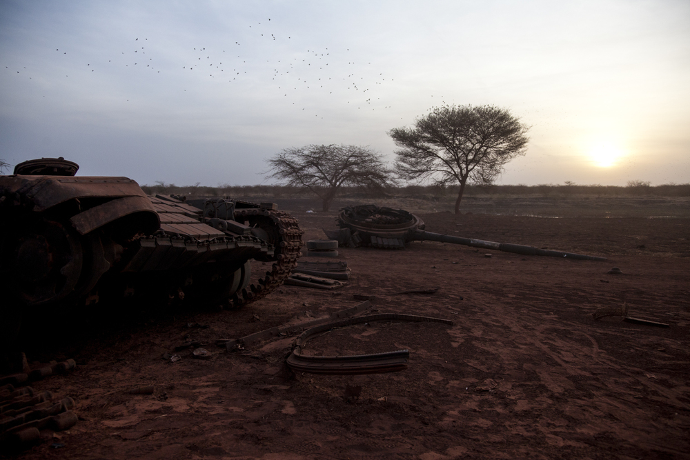 A tank belonging to the Sudan Armed Forces was destroyed during fighting with the SPLA in Heglig, Sudan, April 15th, 2012.