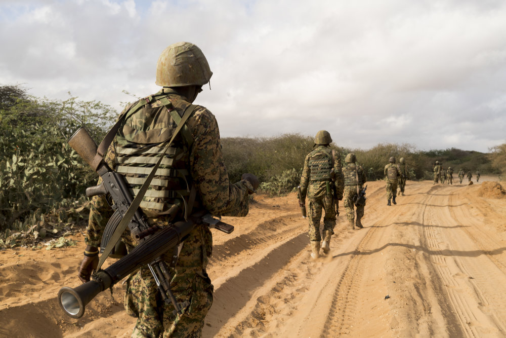 Ugandan African Union forces set out on their morning foot patrol from their forward operating base in Arbiska, Somalia, February 14, 2017.