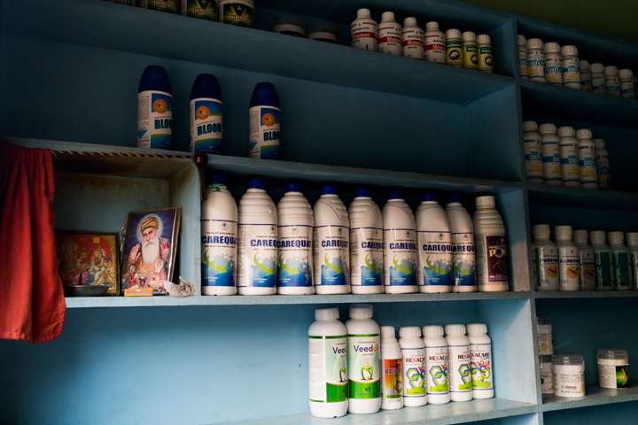 The wall of a pesticide and insecticide shop in the small farming town of Vairoke, Pubjab, India, October 1, 2016.