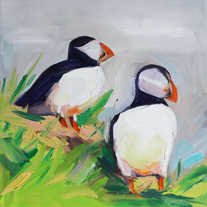 "Pufflings, 10""x10"" oil on canvas. 2018."