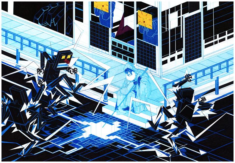 Jon Fox  Gridshock  72 x 48 cm pen on paper  sold