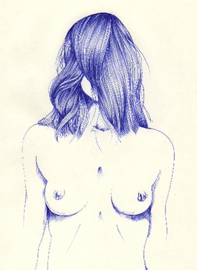 David Bray  Blanket 4  biro on paper 19 x 25 cm   Inquire