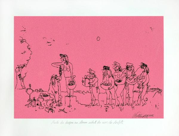 Wayne Horse  'Mach Die Augen Zu, Dann Siehst Du Was Du Darfst' III   SIlkscreen (edition 25) 50 x 40 cm   € 150,-   Inquire