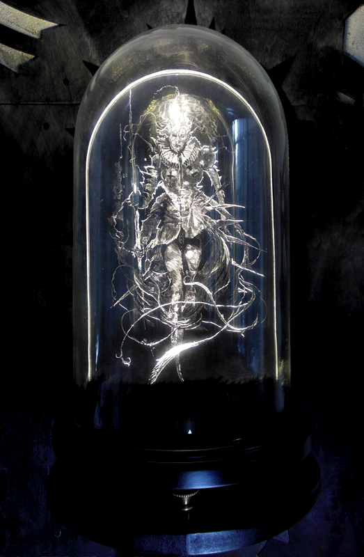 Daniel van Nes  		 	 	  GUARDIAN OF SANITY Illuminated engraving with glass dome 43cm x 30cm      € 3.300