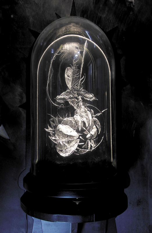 Daniel van Nes  		 	 	  GUARDIAN OF CANDOR Illuminated engraving with glass dome 43cm x 30cm € 3.300
