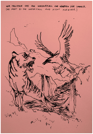 Wayne Horse   Wir treffen uns  pen on paper 30 x 40 cm
