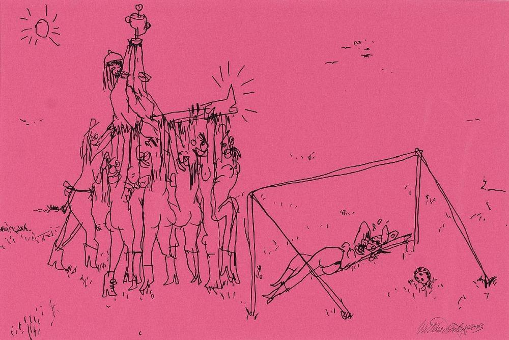 Wayne Horse   'Mach die Augen zu, dann siehst Du was Du darfst' VII  pen on paper 65 x 48 cm