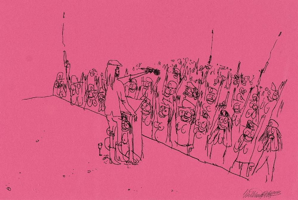 Wayne Horse   'Mach die Augen zu, dann siehst Du was Du darfst' VI  pen on paper 65 x 48 cm