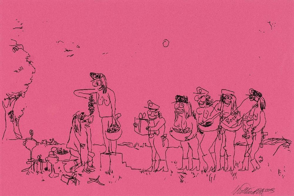 Wayne Horse   'Mach die Augen zu, dann siehst Du was Du darfst' V  pen on paper 65 x 48 cm