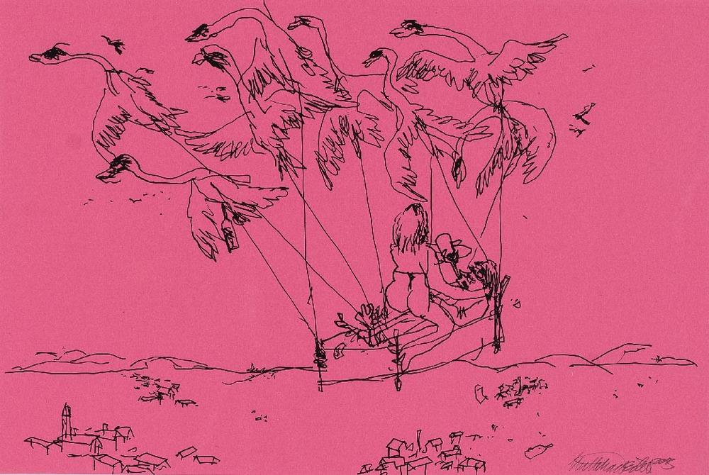 Wayne Horse 'Mach die Augen zu, dann siehst Du was Du darfst' I pen on paper 65 x 48 cm € 575